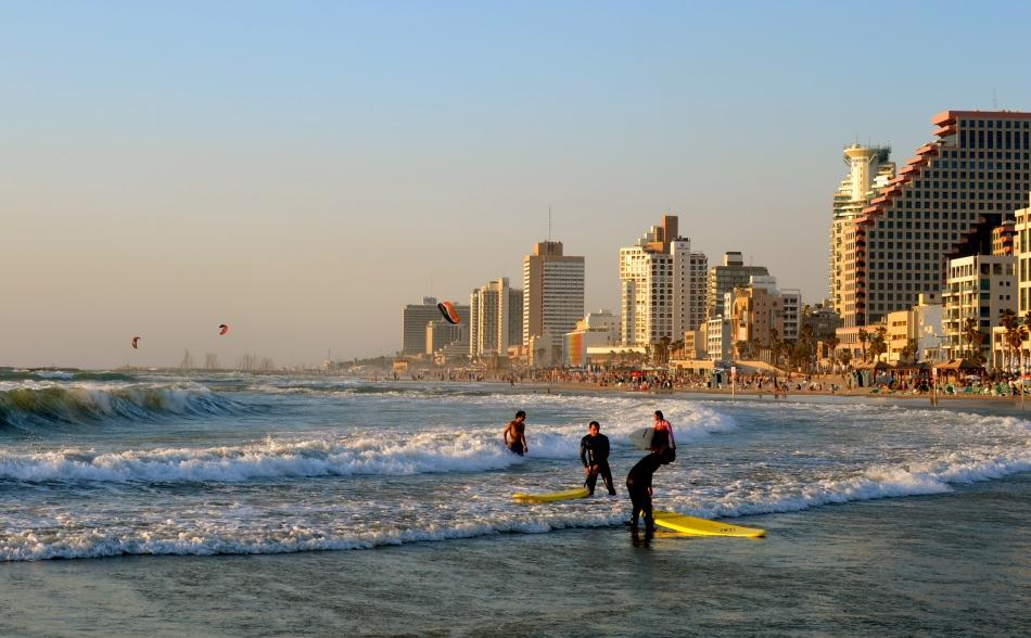 surfers in Tel Aviv
